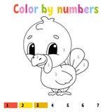 Couleur par des nombres Livre de coloriage pour des enfants Caractère gai Illustration de vecteur Style mignon de bande dessinée  illustration libre de droits