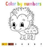 Couleur par des nombres Livre de coloriage pour des enfants Caractère gai Illustration de vecteur Style mignon de bande dessinée  illustration stock