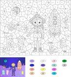 Couleur par le jeu éducatif de nombre pour des enfants Astronaute, étrangers et Photos libres de droits