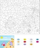 Couleur par le jeu éducatif de nombre pour des enfants Dragons mignons de dessin animé Photos libres de droits