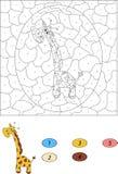 Couleur par le jeu éducatif de nombre pour des enfants Giraffe drôle de dessin animé Photos stock