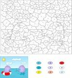 Couleur par le jeu éducatif de nombre pour des enfants Natation pourpre de dragon Image libre de droits
