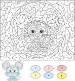 Couleur par le jeu éducatif de nombre pour des enfants Souris mignonne Vecteur IL Images stock