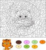 Couleur par le jeu éducatif de nombre pour des enfants Tigre de bande dessinée Vecteur Images stock