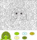 Couleur par le jeu éducatif de nombre pour des enfants Tortue de bande dessinée Vecto illustration stock