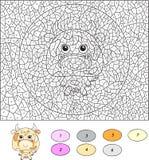 Couleur par le jeu éducatif de nombre pour des enfants Vache à dessin animé Vecteur i Images stock