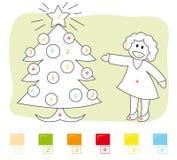 Couleur par le jeu de numéro : arbre de Noël Images libres de droits