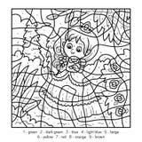 Couleur par le nombre, petite princesse illustration stock