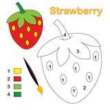 Couleur par numéro : fraise Photos stock