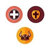 Couleur plate d'eWith de Viking Logo Templat Photos stock
