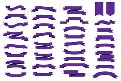 Couleur plate de l'ultraviolet de bannières de rubans de vecteur Couleur à la mode l'ultraviolet de 2018 ans Rubans de vecteur po Photographie stock libre de droits
