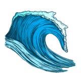 Couleur précipitant l'océan tropical Marine Wave Storm Vector illustration de vecteur