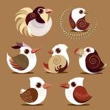 Couleur préhistorique de collection réglée d'oiseau Image libre de droits