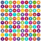 100 couleur réglée de maison par icônes confortables Photos stock