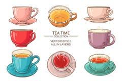 Couleur réglée de tasses de thé Image libre de droits