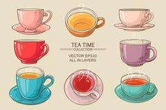 Couleur réglée de tasses de thé Illustration de Vecteur