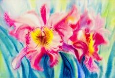 Couleur rose de peinture des feuilles de fleur et de vert d'orchidée Images stock