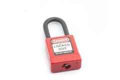 Couleur rouge de cadenas de lock-out sur le fond d'isolement photo stock
