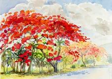 Couleur rouge de peinture de fleur et d'émotion de paon en montagne illustration de vecteur