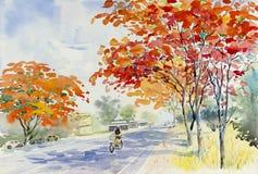 Couleur rouge de peinture de fleur et d'émotion de paon Image stock