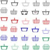 Couleur rouge et bleue de panier - icônes réglées Images stock