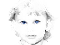 Couleur sélectrice observée bleue de fille Photos libres de droits