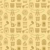 Couleur sans couture de jaune de modèle de l'apiculture, illustration de vecteur d'apiculture Ligne mince icônes - abeille, ruche Photo stock