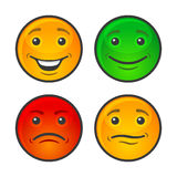 Couleur Smiley Face Icons Set Vecteur Images stock