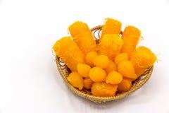 Couleur thaïlandaise de jaune de dessert dans un panier Photos libres de droits