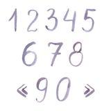 Couleur violette en pastel de chiffres tirés par la main d'aquarelle Photos libres de droits