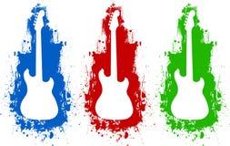 Couleurs blanches de silhouette de guitare Images libres de droits