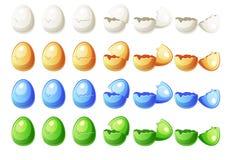 7 couleurs d'animations d'étapes différentes cassées egg dans le vecteur Photo libre de droits