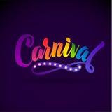 Couleurs d'arc-en-ciel d'inscription de calligraphie de carnaval Lumières de lampe Illustration de fête de célébration sur Violet Photos stock