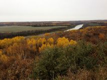 Couleurs d'automne le long de la rivière d'Assiniboine, Manitoba Photos libres de droits