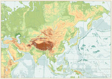 Couleurs de carte physique de l'Asie rétros illustration libre de droits