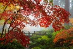Couleurs de chute par le pont en lune dans le jardin japonais de Portland en Orégon photographie stock