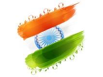 Couleurs de drapeau national avec la roue d'Ashoka pour le jour de République illustration stock