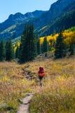 Couleurs de feuillage d'automne du Colorado de randonneur de randonneur images libres de droits