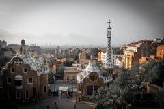Couleurs de guell de parc à Barcelone, Espagne photographie stock libre de droits