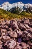 Couleurs de nature, peintes par un DIEU, voie de vallée de talonneur, Aoraki, cuisinier de bâti, Nouvelle-Zélande Images libres de droits