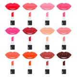 Couleurs de palette de rouge à lèvres, lumineuses et à la mode Lèvres douces Photographie stock libre de droits