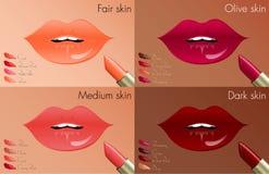 Couleurs de rouge à lèvres pour chaque teint Photographie stock