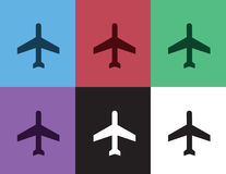 Couleurs de silhouette d'avion Image stock