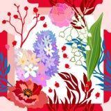 Couleurs de source Écharpe en soie avec les pavots et les jacinthes de floraison Images stock