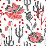 Couleurs de source Modèle sans couture floral de vecteur avec des wildflowers de broderie Photographie stock