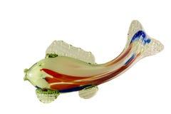 Couleurs de vert de poissons de figurine, bleues et rouges en verre Photos stock