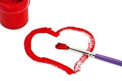 Couleurs et coeur peints de gouache Image stock