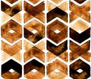Couleurs foncées de café de chevron d'aquarelle sur le fond blanc Image libre de droits