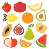 Couleurs lumineuses mignonnes des collections de vecteur de fruits Placez des fruits une fraise, grenade, melon, citron, orange,  illustration libre de droits