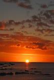 Couleurs magnifiques de coucher du soleil, Îles Maurice Photos libres de droits